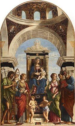 Madonna in trono col Bambino fra angeli e santi (ca. 1492), olio su tavola trasportato su tela, Duomo di Conegliano (Tv).