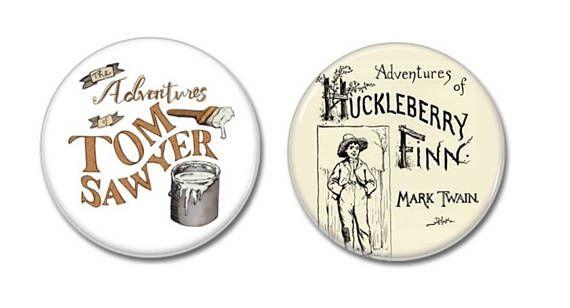 Tom Sawyer & Huckleberry Finn Buttons!   #marktwain #TomSawyer  #HuckleberryFinn #buttons #badges #pins #childrensbooks