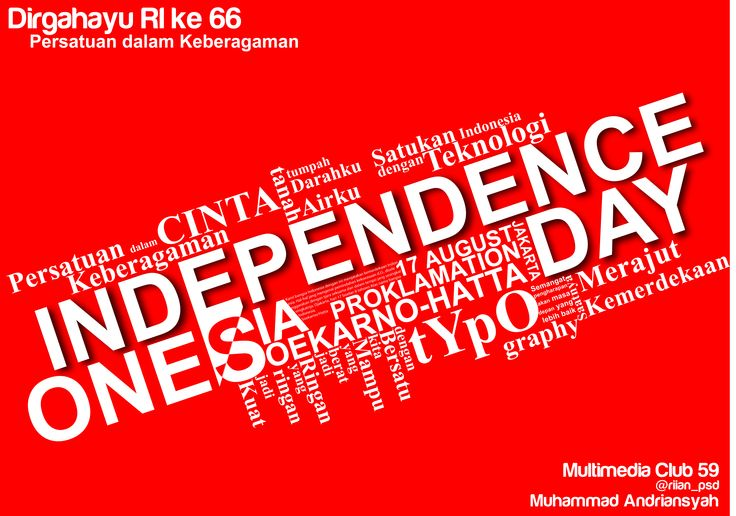 """Desain Poster """"Independence Day, Indonesia"""""""