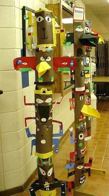3rd grade Totem Poles! Too cute - make them with oatmeal boxes and have a recycle project!
