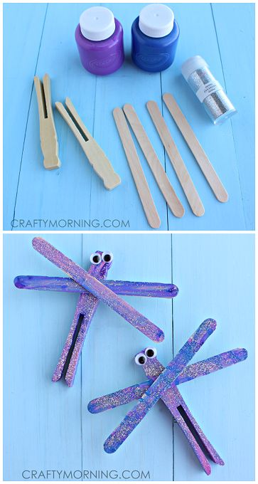 Popsicle Stick Dragonfly Art Project - Fun Spring Craft for Kids! | CraftyMorning.com