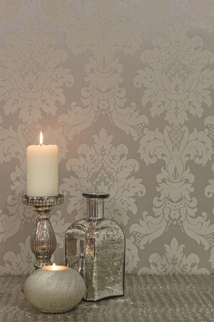 Stunning silver damask wallpaper design by arthouse for Silver wallpaper living room