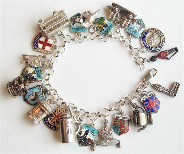 London England Shield Charm Bracelet