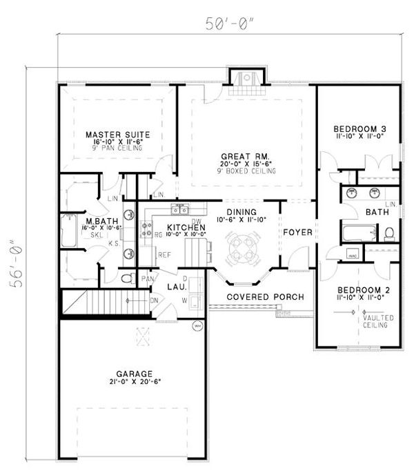Traditional Style House Plan 61349 With 3 Bed 2 Bath 2 Car Garage Floor Plan Design House Plans How To Plan Traditional style house plan