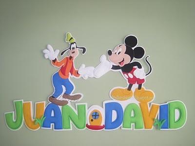 Apliques de Goofy y Mickey Mouse