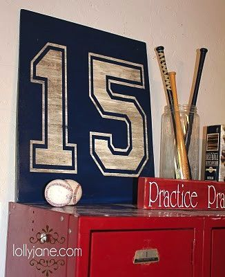 Baseball Miniature Bat And Jersey Number Boys Room Decor
