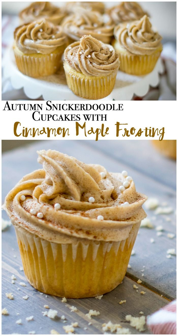 Autumn snickerdoodle cupcakes with cinnamon maple frosting. Perfect fall recipe! Includes recipe for Cinnamon Maple Buttercream Frosting. Instantly becomes one of your favorite desserts! Who doesn't love cinnamon sugar?