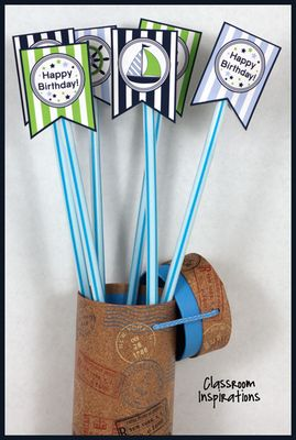 Pixy Stix Topper – Coordinates with Nifty Nautical Classroom Theme from Classroom Inspirations on TeachersNotebook.com - (6 pages) - Nifty Nautical Pixy Stix Toppers look really fun on top of giant Pixy Stix. Spice up your classroom décor until a special day that you send them home as a birthday gift or other special treat.