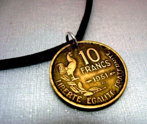 Vintage 1951 French 10 Francs COIN pendant - liberte, egalite, fraternite - via Etsy.
