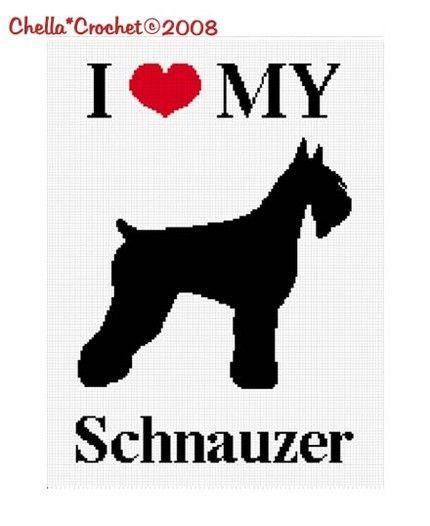 Chella Crochet Pattern I Love My Schnauzer Dog Silhouette Heart Afghan Pattern Graph Chart Cross Stitch. .PDF   chellacr