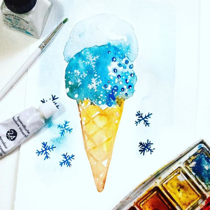 #365dayswatercolorproject Day 2 prompt ICE - what about an #ice icecream? #ssdwatercolorproject2017 #ssdwatercolorproject #painting #design #like4like #watercolor #handpainted #365project #365 #photooftheday #designyourlifestyle #art #artist #artoftheday