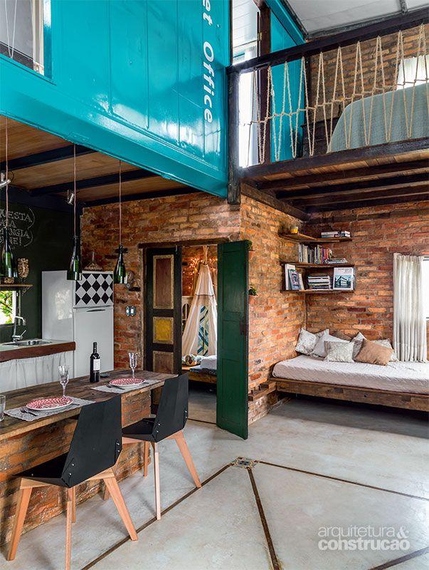 Casa de 60 m² é feita de um contêiner e materiais de construção - Casa