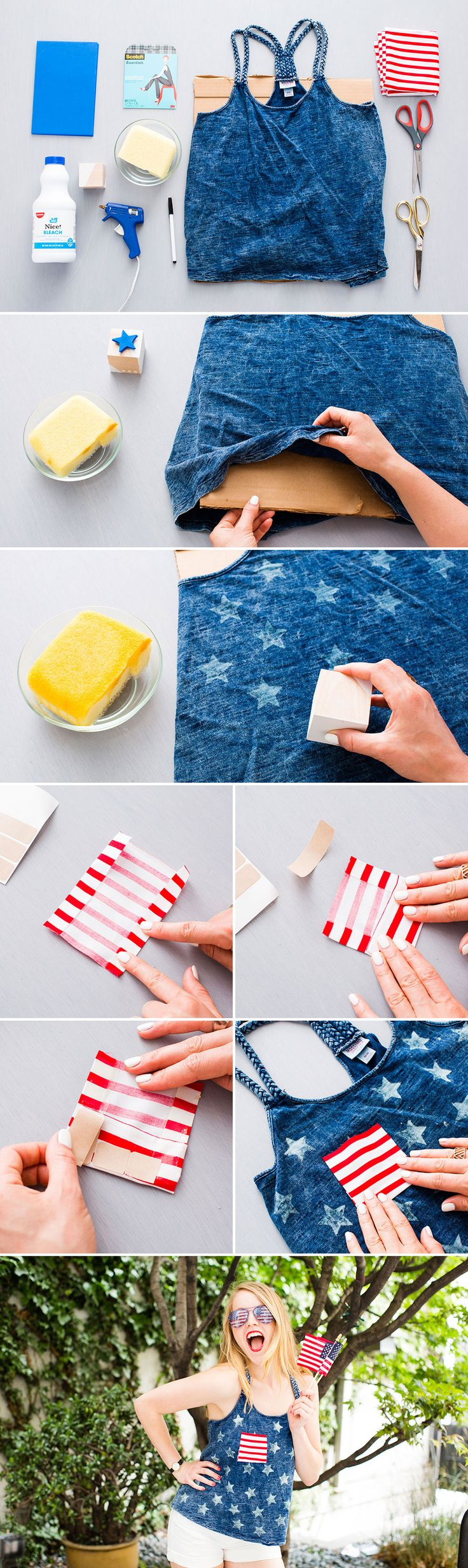 4th of July Food, Drink, Decoration and Outfit Ideas @ www.thriveorsurvive.us - This tank is simple to make and perfect for the 4th. 1. Create a star stamp using a foam sheet and wooden block. 2. Add bleach to the stamp and stamp shirt. 3. Make a pocket using striped fabric and permanent hem.