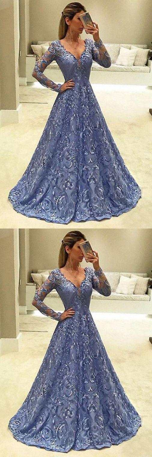 A-Line Prom Dresses,V-Neck Prom Gown,Long Sleeves Prom Dress,Blue Prom Dresses,Long Evening Dress,Lace Prom Dress #blue #lace #aline #longsleeves #prom #evening #gown #okdresses