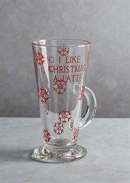 Christmas Coffee Glass (15cm x 8xm)