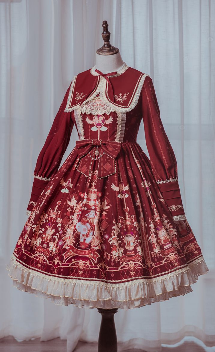 Arcadian Deer -The Royal Circus- Sweet Embroidery Lolita OP Dress (Shipping Date: In February)