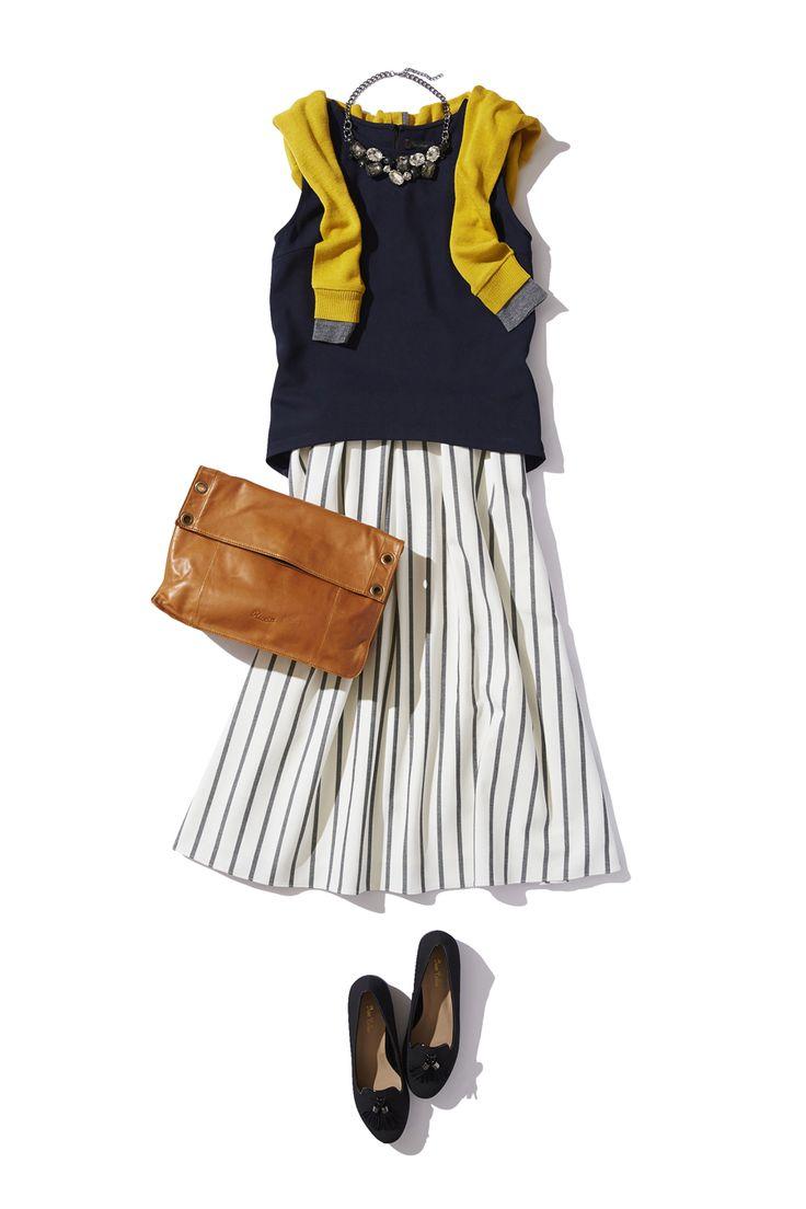 ストライプ柄ミモレスカートで秋のカジュアルエレガントスタイル ― B