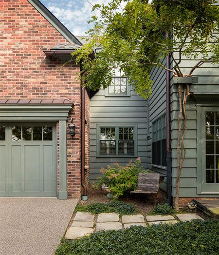 pantone desert sage and brick home exterior, olive gray siding, olive green, gray-green, greenish-gray