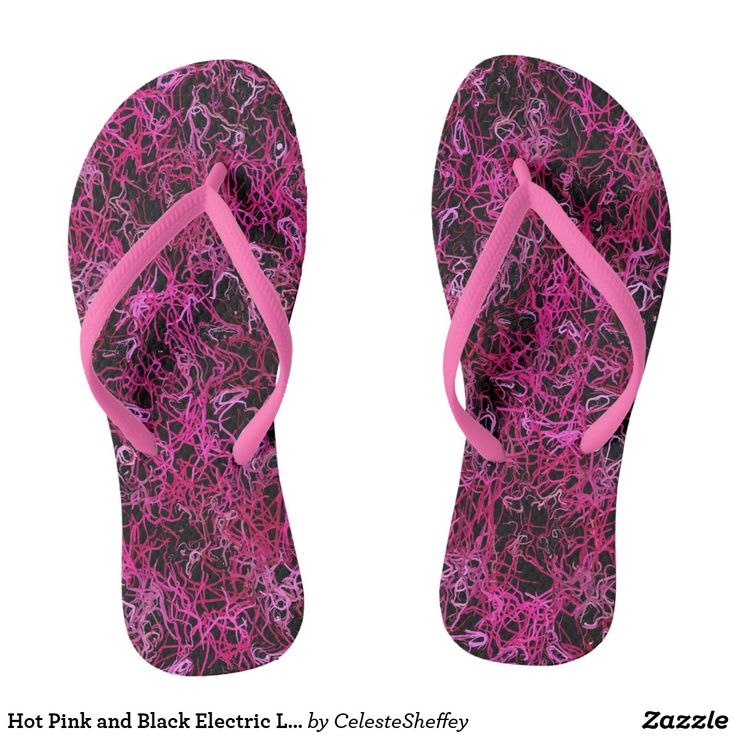Hot Pink and Black Electric Lines 5078 Flip Flops