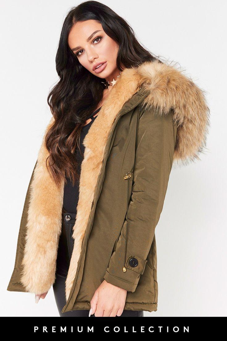 Ashleigh Beige Faux Fur Khaki Parker Jacket