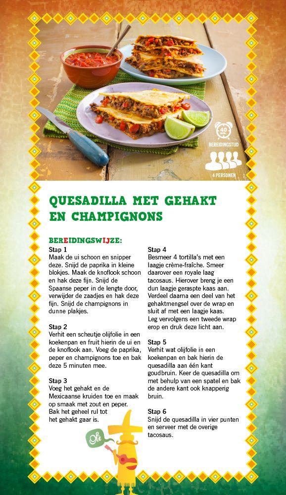 Quesadilla  met gehakt & champignons