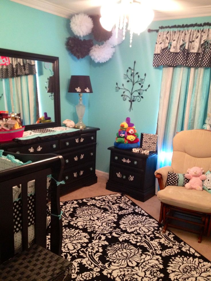 Girls nursery in tiffany blue black nursery ideas for Tiffany blue living room ideas