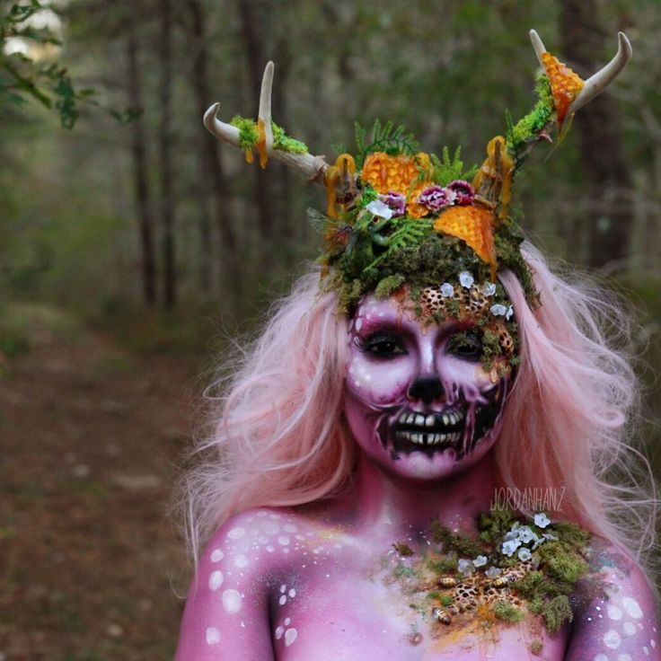 NOW LIVE! #HANZOWEEN NEW Enchanted Deer Halloween Makeup Tutorial!  The link to my YouTube channel is in my bio go check this bish out! ______________________________ This mind blowingly beautiful antler headpiece was made by @mermaidsanctuarydesigns to go perfectly with this look. She does the most amazing headpieces and other fantasy style items I have ever seen. Go check her out! Thank you.  USING: @makeupforeverofficial @makeupforeverus Hydrating Base Primer & Color White @nyxcosmetics…