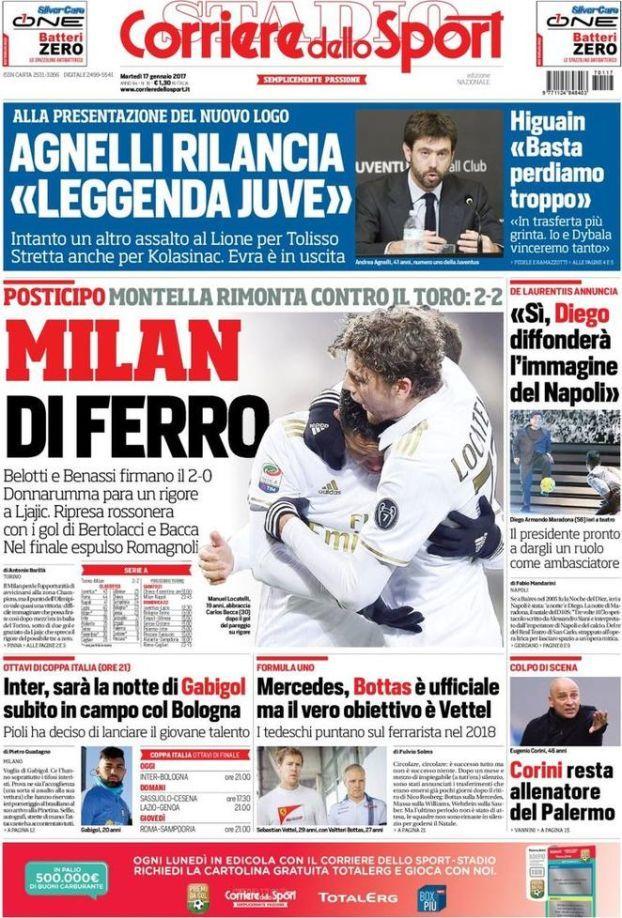 Rassegna stampa Corriere dello Sport prima pagina 17 gennaio 2017