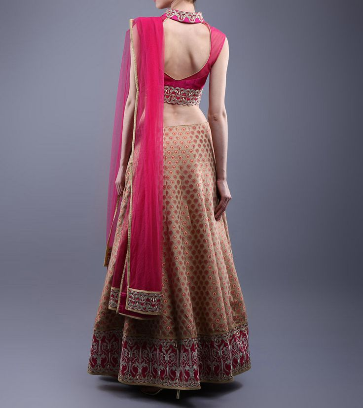 Pink & Beige Embroidered Raw Silk & Chanderi Lehenga Set