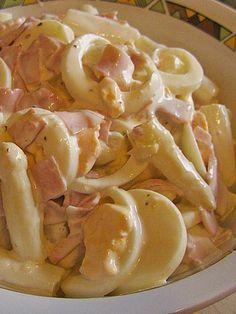 Spargelsalat mit Schinken und Ei... Senf weglassen und Zucker austauschen!!! Mehr