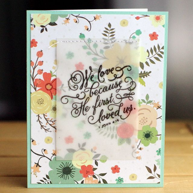 Awesome Card Making Ideas Using Vellum Part - 3: Cas(e) This Sketch Great Use Of Patterned Paper - Sentiment Heat Embossed  On Vellum And Sewed To Patterned Paper.