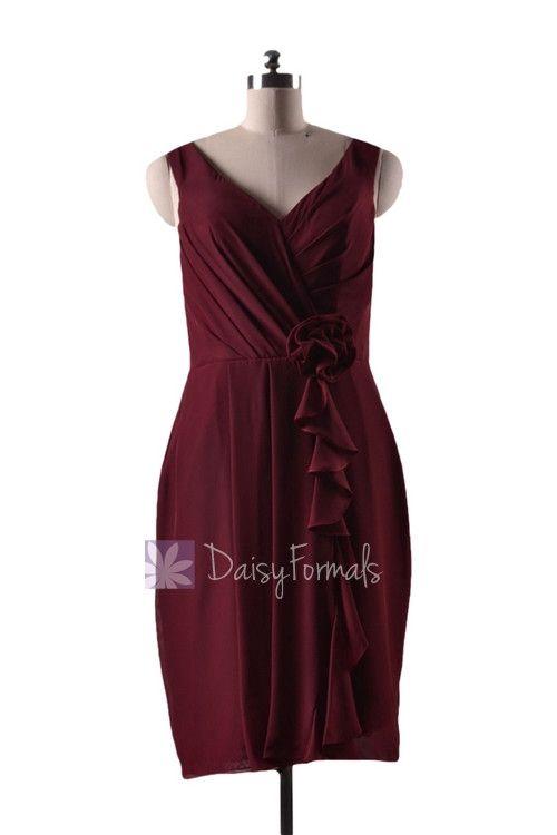 In stock,Ready to Ship - Knee Length Sheath V-Neck Red Bridesmaid Dress(BM266) - (Falu Red)