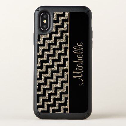 Diagonal Black Chevron Gold Monogram Speck iPhone X Case - black gifts unique cool diy customize personalize