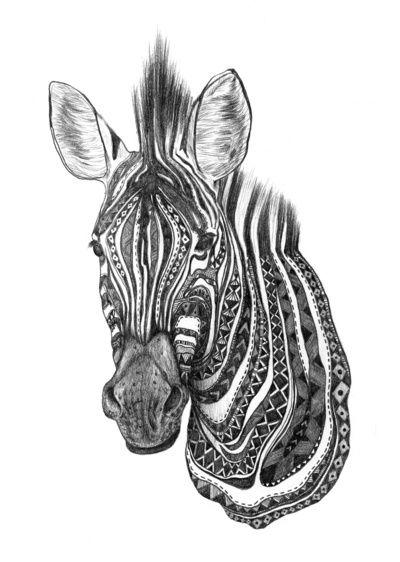Aztec zebra Art Print