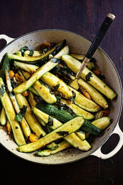 braised zucchini with cherry tomatoes and basil.