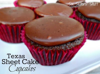 Texas Sheet Cake Cupcakes- so fudgy and delicious! SixSistersStuff.com #cupcakes #chocolate #dessert: Texas Sheet Cakes, Chocolate Desserts, Sheet Cupcake, Cakes Cupcake, Cupcake Chocolates, Sixsistersstuff Com Cupcake, Chocolates Desserts, Sheetcak Cupcake, Six Sisters Stuff