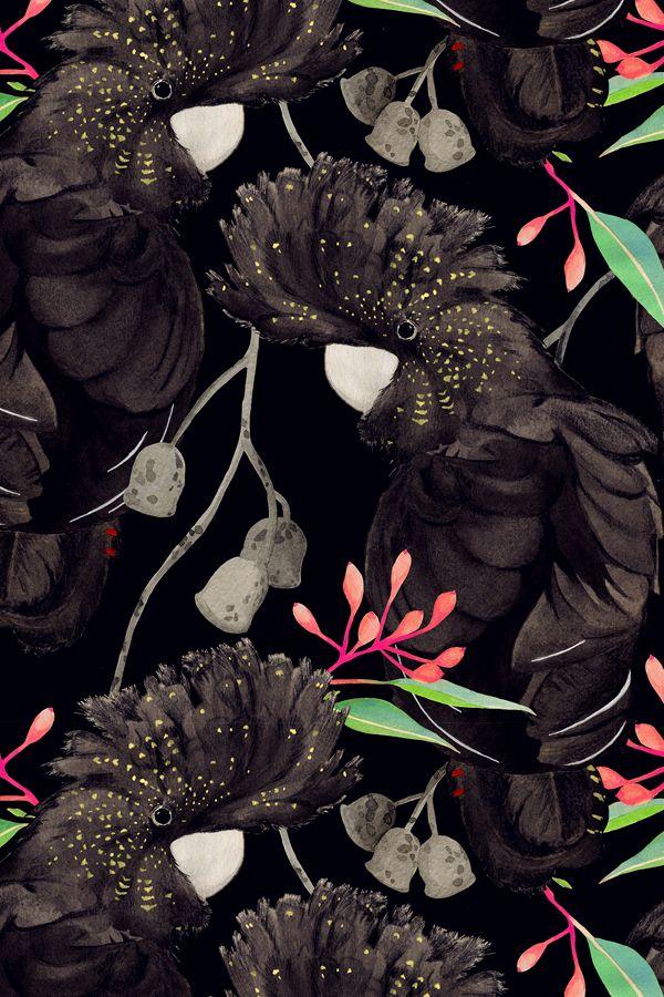 pattern #black #background #flowers
