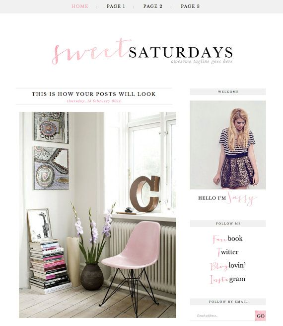 """Blogger Template inc. Blog Elements and XML """"Sweet Saturdays"""" // Simple Blog theme // Watercolor Pink & black // Blogger // Pre-made Blog"""
