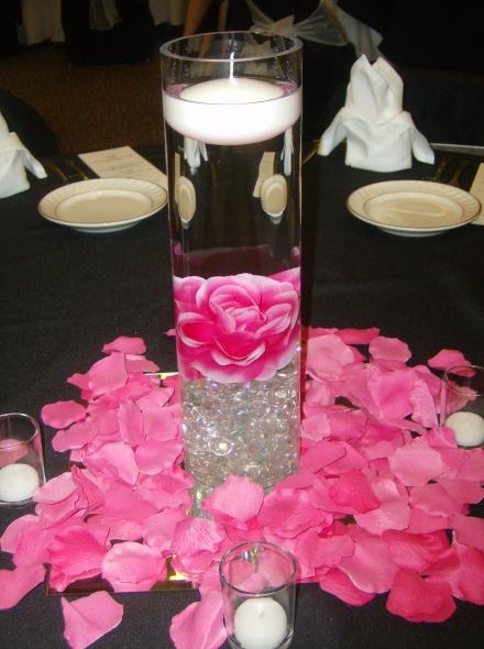 hot pink centerpiece...Rose Petals available at www.flyboynaturals.com in over 100 colors!  Choose Sarah or Fame to get this hot pink!