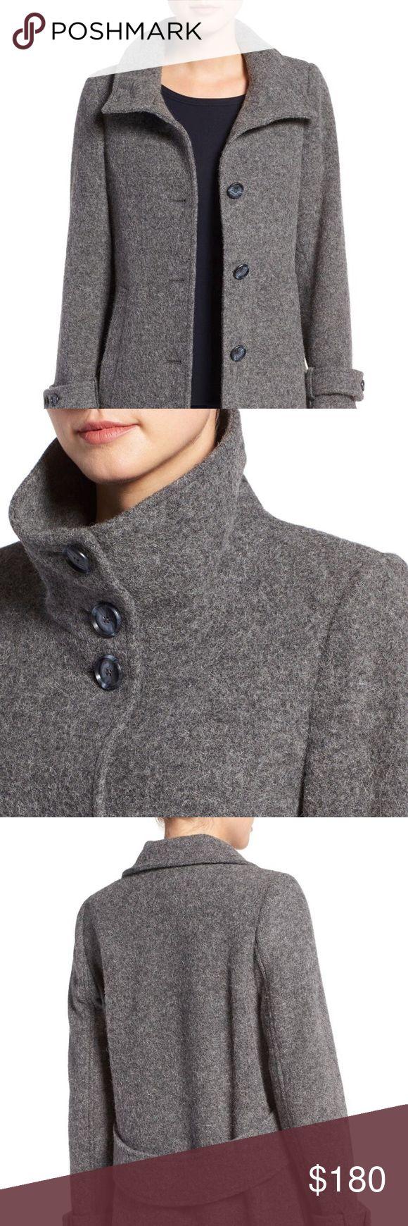 PENDLETON 'Ashbury' Italian Shetland Wool Topper ReLove A back half Belt tempers the easy A-line cut of timeless button front topper fashioned from lush Italian Wool with a convertible stand collar and belted cuffs! Pendleton Jackets & Coats