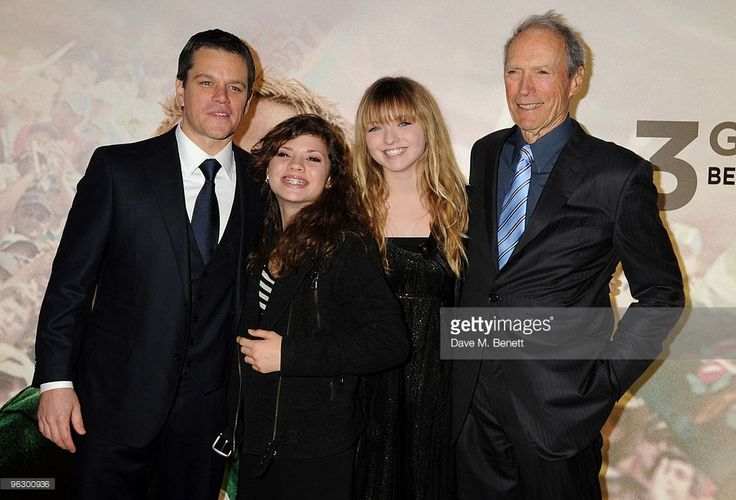 Matt Damon and Clint Eastwood with his daughters Francesca and Morgan arrive at the UK film