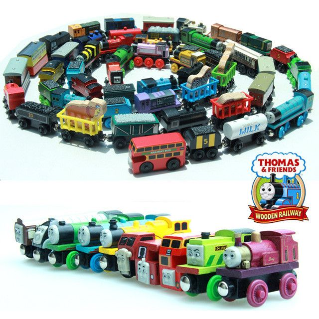 10PCS Thomas and His Friends Wooden Magnetic Trains Toy