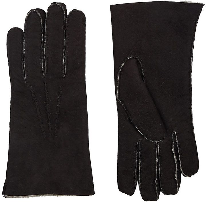 Barneys New York Men's Shearling-Lined Gloves-BLACK