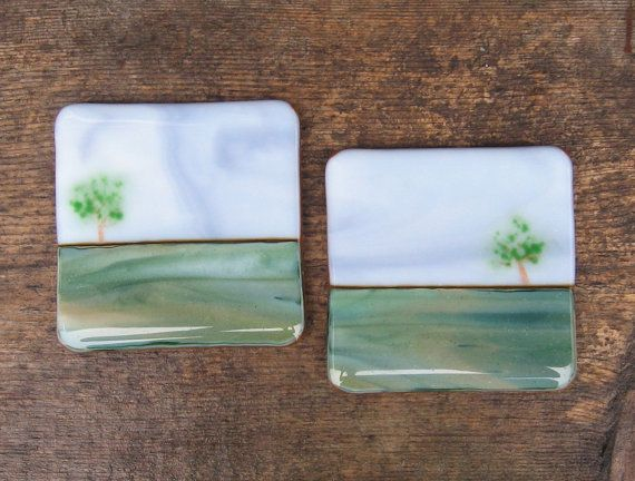 Fused Glass Art Original Home Decor Coasters by WhatSarahThinks