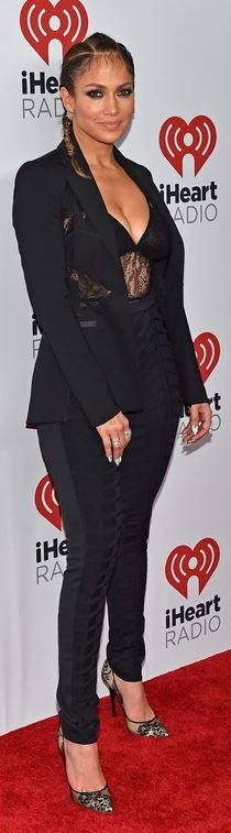 JLo: Jacket – Altuzarra  jumpsuit – House of CB  Shoes – Jimmy Choo