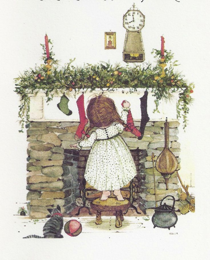 Holly Hobbie hanging the stockings