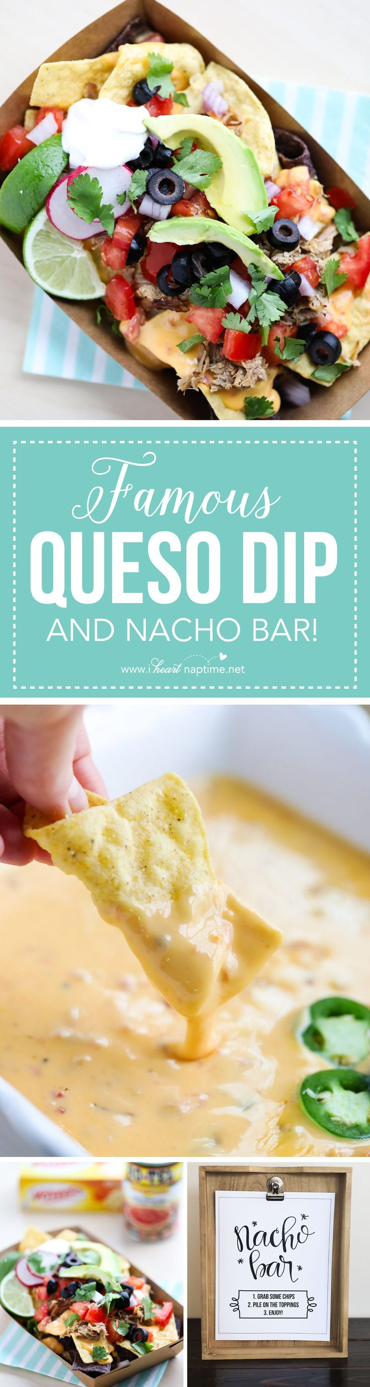 Nacho Bar free printables + Famous Queso Dip Recipe and all the fix-in's! The perfect game day appetizer. #FamousQuesoHouse #Ad
