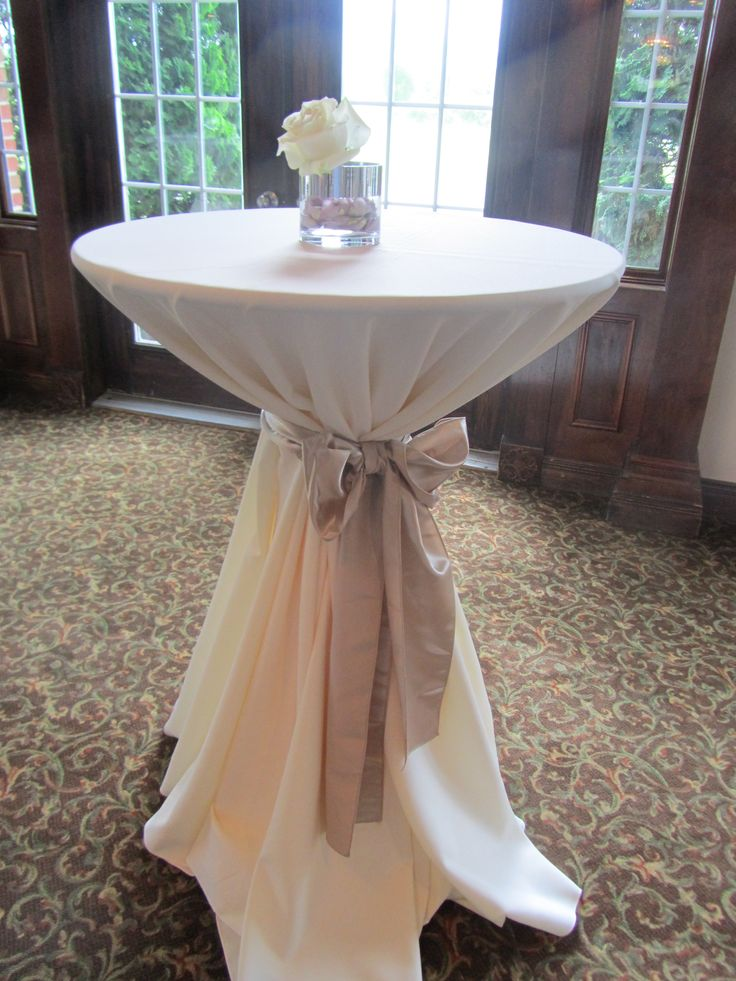 High Top Table Linens Part - 18: High Top Table With A Petite Centerpiece To Coordinate With Wedding Colors.
