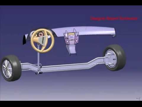 Steering Mechanism With worm and wheel gear in CATIA Kinematics