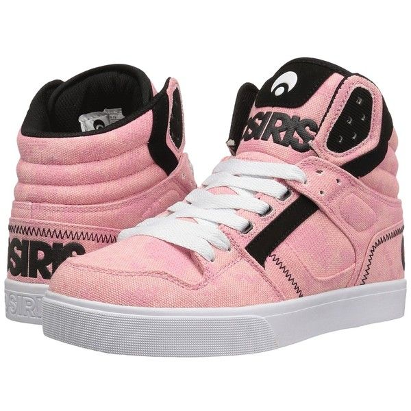 Osiris Clone (Pink/Fatigues) Women's Skate Shoes ($50) ❤ liked on Polyvore featuring shoes, cushioned shoes, pink shoes, osiris shoes, hi tops and vegan leather shoes